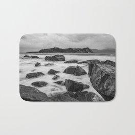 Rocky Ocean Black And White Bath Mat