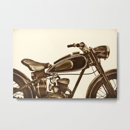 Sepia toned side view image of a vintage motorcycle Metal Print