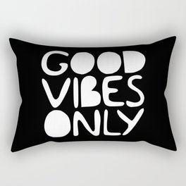 GOOD VIBES ONLY (black) Handlettered quote typography Rectangular Pillow