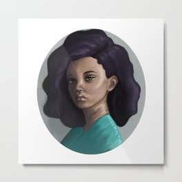 Young woman in green Metal Print
