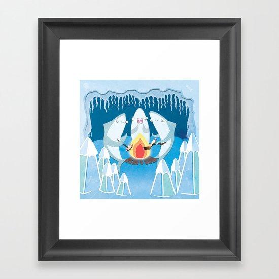 A Shiver of Sharks Framed Art Print