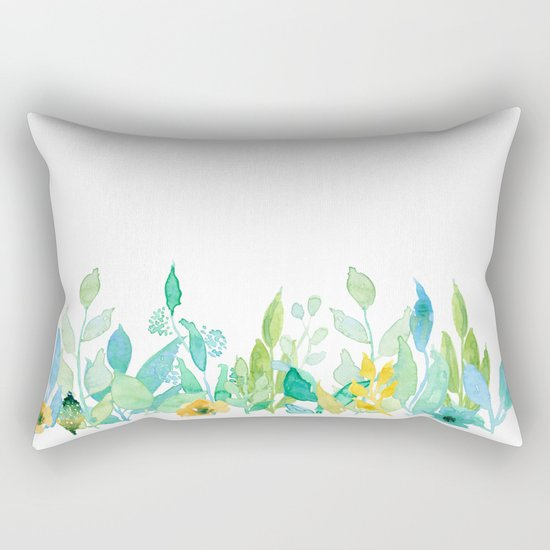 flowers in a meadow - Floral watercolor illustration on white background Rectangular Pillow