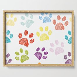 Colorful colored paw print background Serving Tray
