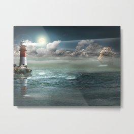 Lighthouse Under Back Light Metal Print