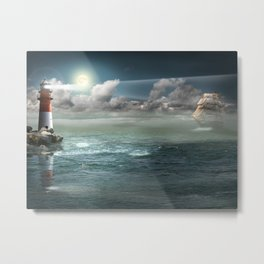 Lighthouse Under Back Light Metal Print