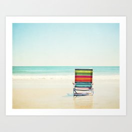 Beach Chair Photography, Colorful Coastal Ocean Landscape Art Print