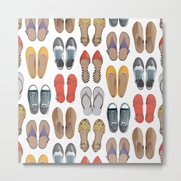 Hard choice // shoes on white background Metal Print