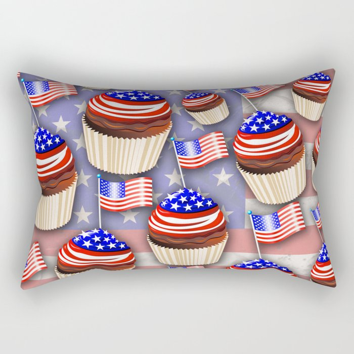 USA Flag Cupcakes Pattern Rectangular Pillow
