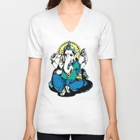 ganesha V-neck T-shirts featuring Ganesha by Julie Rose Design