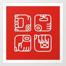 Mayan Glyphs ~ Hands Art Print