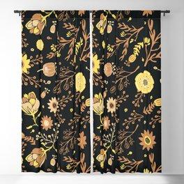 Golden Florals Blackout Curtain