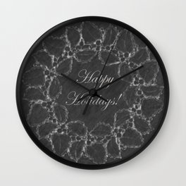 Happy Holidays Vintage Holly Wreath Chalkboard Wall Clock