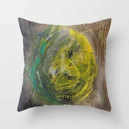 Lime spray painting on canvas, handmade Throw Pillow