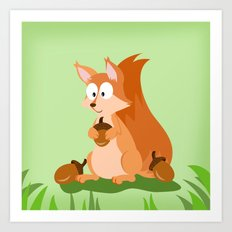 Woodland Animals Serie I. Squirrel Art Print