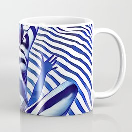 9911s-KMA_5200 Blue Stripe Seated Nude Arms Up Hands Out Belly Tattoo Coffee Mug
