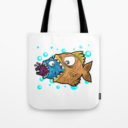 BIG MEDIUM SMALL FISH EATING Food Chain Gift Comic Tote Bag