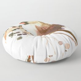 Cardinal Bird and Fall Berries Floor Pillow