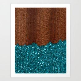 Aqua blue sparkles glitter rustic brown wood Art Print