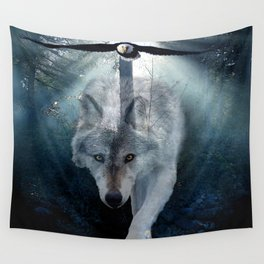 The Gathering - Wolf and Eagle Wall Tapestry