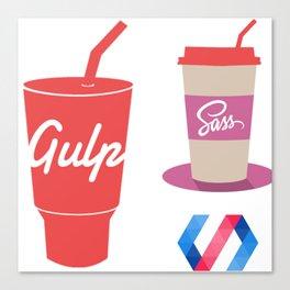 gulp polymer sass stickers all in 1 programming stickers web developer Canvas Print