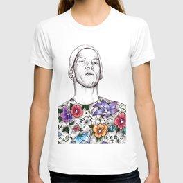 Joshua Dun in flowers T-shirt