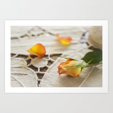 Yellow Rose on a Tablecloth Art Print
