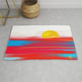 Sketchy Sun and Sea. Sunset and Sunrise Sketch Rug