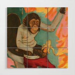 """Primitive Neurological Circuitry (Chimp on Toilet)"" Wood Wall Art"