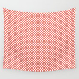 Peach Echo and White Polka Dots Wall Tapestry