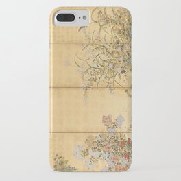 Japanese Edo Period Six-Panel Gold Leaf Screen - Spring and Autumn Flowers iPhone Case
