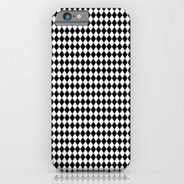 Black and White Harlequin Diamond Check iPhone Case