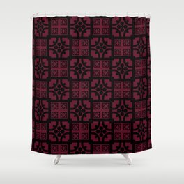 Cherry and black English half-timbered Tudor house pattern Shower Curtain