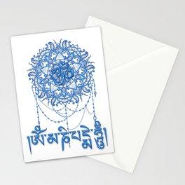Blue Mani Mantra With Mandala Stationery Cards