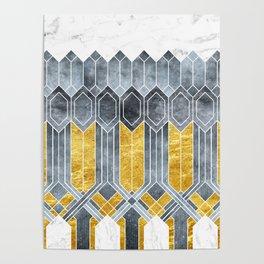 Turtle Shell Geometric   Art Deco Poster