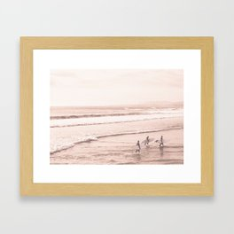 Vintage Sunset Surfing Framed Art Print