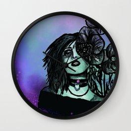 Azura | Portrait | Poppies | Galaxy | Stars | Space | Flowers | Woman Wall Clock