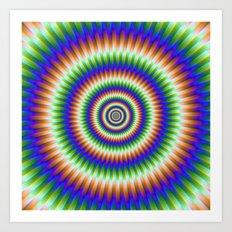 Sliding Rings in Orange Blue and Green Art Print