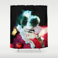 the hound Shower Curtains featuring Happy Hound by Awesome Independence Productions