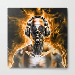 Disco god portrait / 3D render of silver male figure with headphones and disco shades engulfed in fl Metal Print