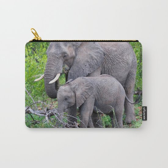 african elephant mother with baby Carry-All Pouch