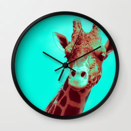 Mr. Giraffe Pop Art (red + teal) Wall Clock