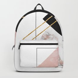 Minimal Geometry Abstract Art With Marble Rose And Gold Backpack