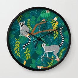 Lemurs in Teal Jungle Wall Clock