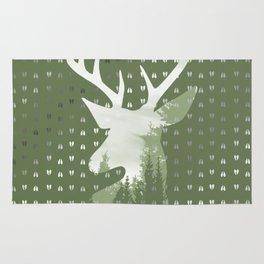 Green Deer Abstract Footprints Landscape Design Rug