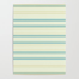Yellow Blue Teal Strips Poster