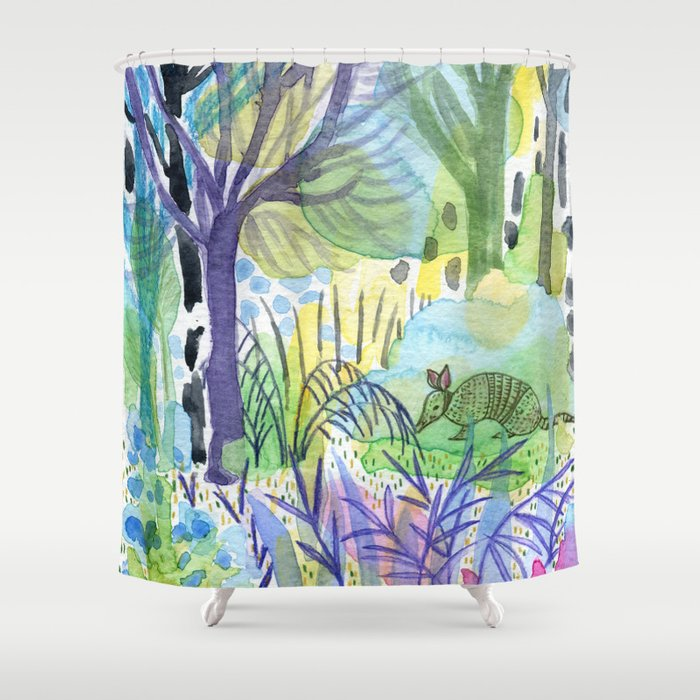 Where the armadillo lives -kids illustration Shower Curtain