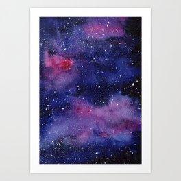 Watercolor Galaxy Nebula Pink Purple Sky Stars Art Print