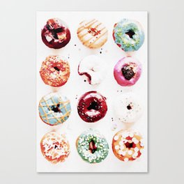 watercolor doughnuts Canvas Print