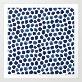 Large Indigo/Blue Watercolor Polka Dot Pattern Art Print