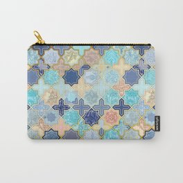 Cream, Navy and Aqua Geometric Tile Pattern Carry-All Pouch